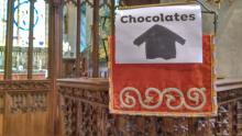 A sign telling everyone chocolates are to be had
