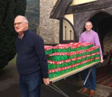 Shoeboxes being collected by Operation Christmas Child