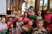 Some of your young people with their shoeboxes