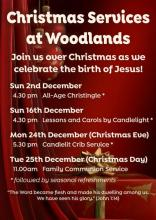 Woodlands Christmas Services 2018